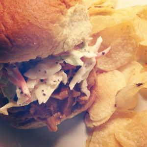 Barbecue Pulled Chicken and Cole Slaw Sandwich