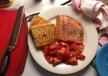 Roast salmon, tomato and watermelon salad and pan con tomate.