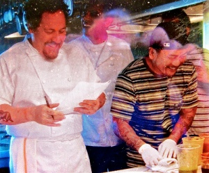 Artsy shot of Jon Favreau and Roy Choi via Huffington Post.