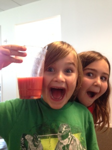 Bennett's Awesome Drink. Photo bomb by Kate.