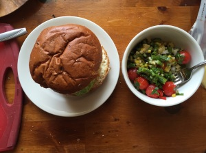 Salad and burger, a match made in heaven.